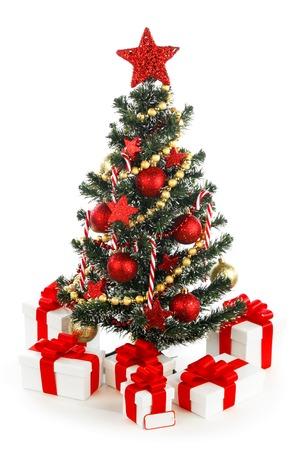 Beautiful decorated christmas tree isolated on white background photo