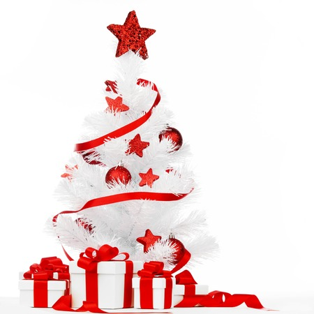 stock photo white christmas tree with red decorations and presents isolated on white background