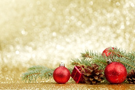 christmas decorations: Christmas card with fir and decor on glitter background Stock Photo
