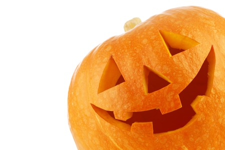 Jack O Lantern halloween pumpkin isolated on white background photo