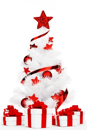 White christmas tree and presents isolated on white background photo