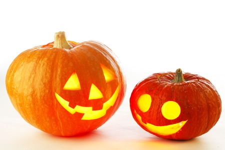 Two cute Halloween pumpkins isolated on white background photo