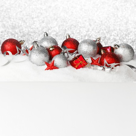 Beautiful various christmas decor on snow close-up photo