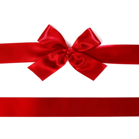 red ribbon bow: Red satin gift bow ribbon isolated on white
