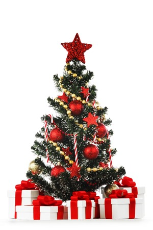 christmas tree and presents isolated on white background photo