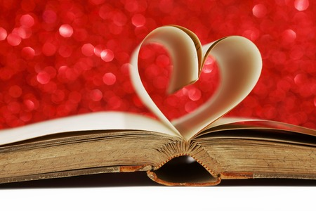 Heart made from book pages, love reading, Valentines day concept photo