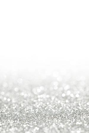 Glittery shiny lights silver abstract Christmas background Stockfoto