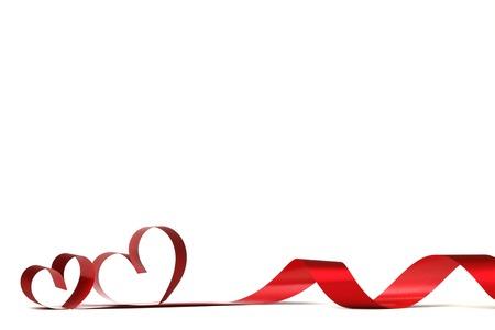 Ribbon hearts isolated on white frame, Valentines day design Standard-Bild