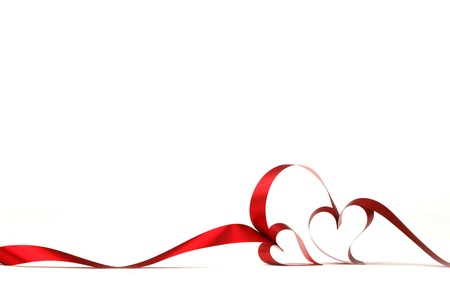 Hearts from red ribbon isolated on white background 스톡 콘텐츠