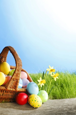 Easter basket with eggs on green meadow with flowers photo