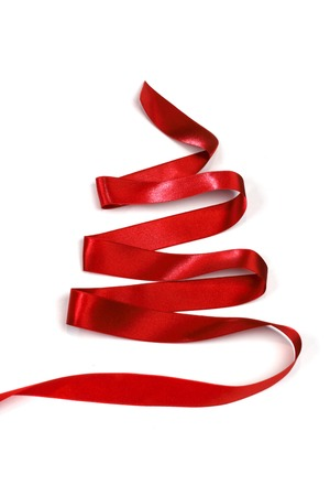Stylized red ribbon Christmas tree isolated on white background photo