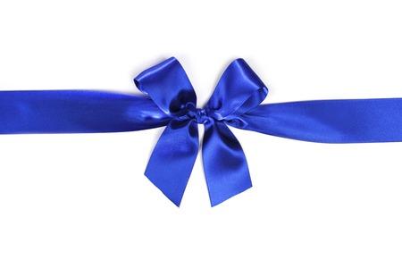 Shiny blue satin ribbon and bow isolated on white background photo