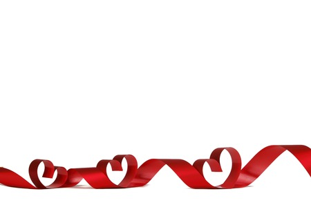 Ribbon hearts isolated on white frame, Valentines day design photo