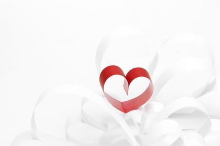 Red and white paper hearts composition, Valentines day concept photo