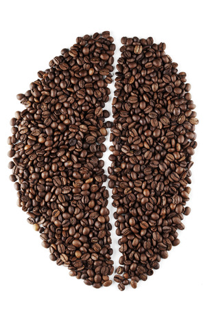 large bean: Big coffee bean shape made of coffee beans isolated on white background
