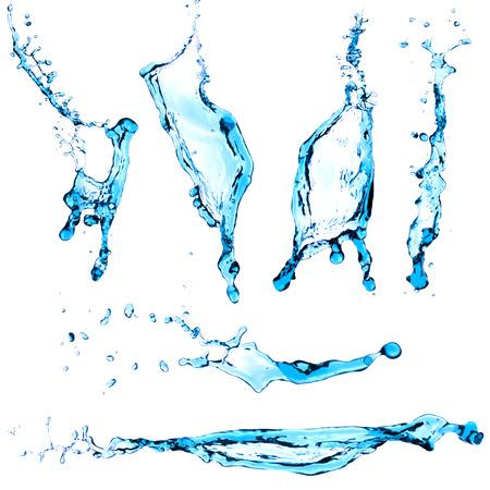 splash de agua: Conjunto salpicadura de agua azul aislado en el fondo blanco