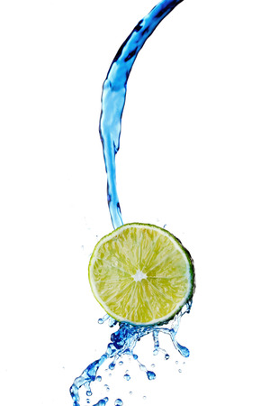Fresh lemon with water splash isolated on white background photo