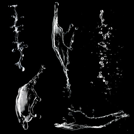 Water splashes collection isolated on black background Banque d'images