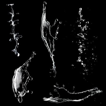 Spritzwasser Sammlung isoliert auf schwarzem Hintergrund Standard-Bild - 38326643