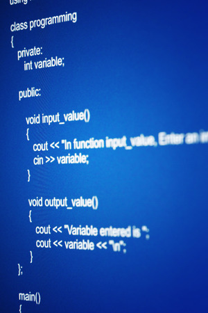 Programming code abstract screen of software developer photo