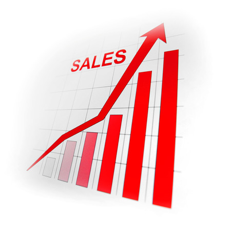 sales growth: Business sales growth graph with red arrow on white Stock Photo
