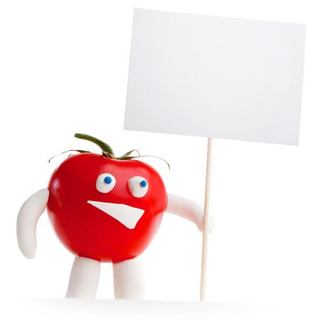 Tomato mascot holding blank card isolated on white background photo