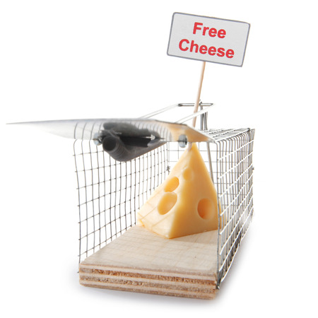 Mousetrap with free cheese sign isolated on white, entrapment concept photo