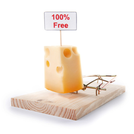 Risk Free: Mousetrap with free cheese sign isolated on white, entrapment concept Stock Photo