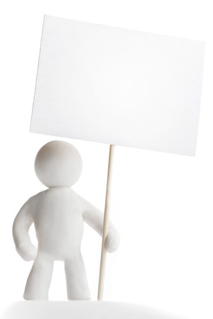 man holding sign: Plasticine man holding sign isolated on white background