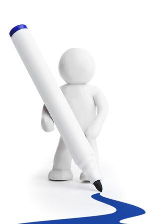 felt tip: Plasticine man with felt-tip pen isolated on white background