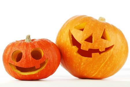 halloween lantern: Two cute Halloween pumpkins isolated on white background Stock Photo