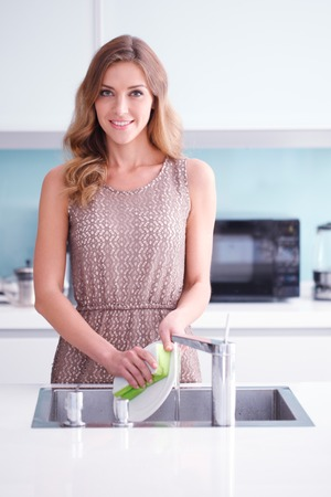 dish: beautiful young housewife doing dishes