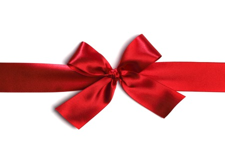gift bow: Decorative red satin bow isolated on white background