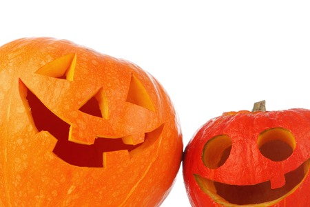 Funny Halloween Jack O Lantern carved pumpkin isolated on white background Stock Photo