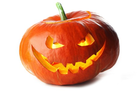 Funny Halloween Jack O' Lantern pumpkin isolated on white background Stockfoto