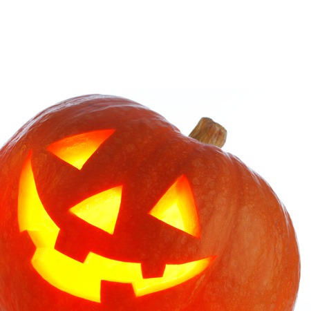 Jack O Lantern Halloween pumpkin isolated on white background Stock Photo