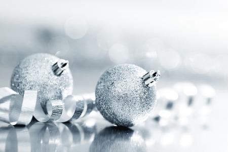 silver balls: Close-up of beautiful silver glitter christmas decorative balls Stock Photo