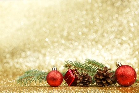 christmas decor: Christmas card with fir and decor on glitter background Stock Photo