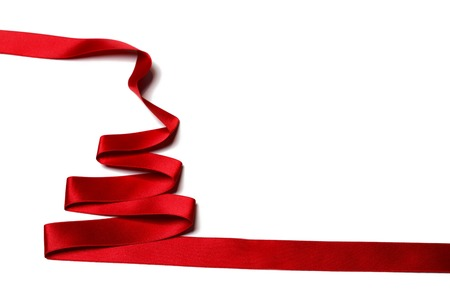christmas red: Red Ribbon christmas fir tree isolated on white background