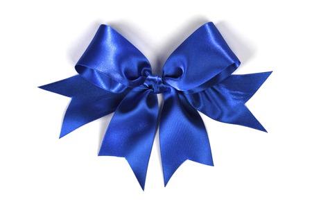 blue silk: Decorative blue satin bow isolated on white background