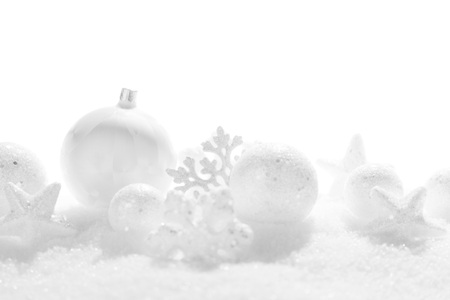 background card: Christmas card with beautiful white decorations in snow Stock Photo
