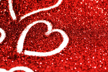 hearts: Red glitter background with hearts, valentines day design