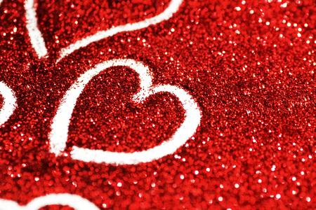 Red Glitter Hintergrund mit Herzen, Valentinstag-Design Standard-Bild - 50377788