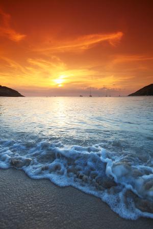 orange sunset: Beautiful sunset with orange sky over blue sea