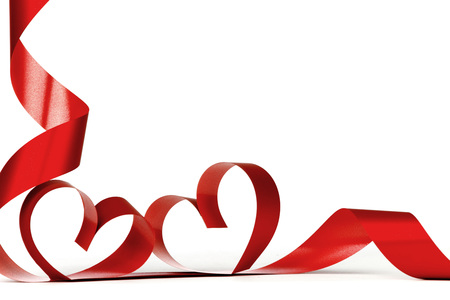 Ribbon hearts isolated on white frame, Valentines day design 스톡 콘텐츠