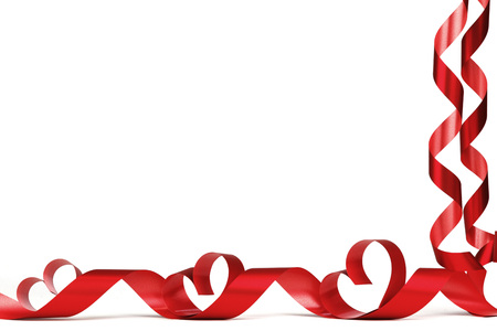 corner ribbon: Ribbon hearts isolated on white frame, Valentines day design Stock Photo