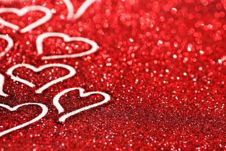 hearts background: Red glitter background with hearts, valentines day design