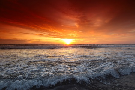 seminyak: Beautiful view on sea under sunset sky on Bali, Seminyak, Double six beach