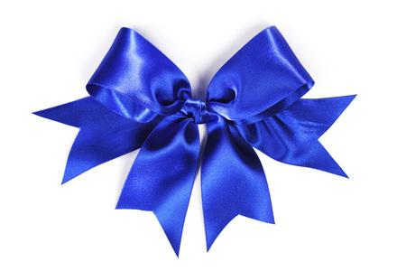 blue satin: Shiny blue satin ribbon and bow isolated on white background Stock Photo
