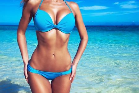 slim: Pretty slim girl at tropical sea beach